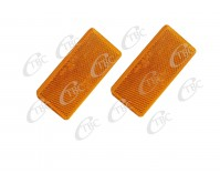2 X REFLECTOR ADHESIVE AMBER 95MM X 45MM TRAILER TRUCK CARAVAN SIDE