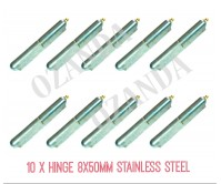 10 x Hinge Greasable Stainless Steel Weld 8x50mm Window Trailer Gate Caravan