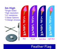 3m Outdoor Ice Cream Flag Feather Banner Feather Flags with Base Double side