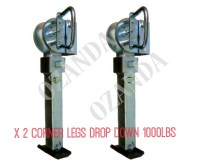 Drop Down Corner Steadies Stabilizer Legs Pair With Handle Plastic Base 1000LBS