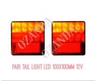 PAIR LED TAIL SQUARE 100X100MM CAMPER LIGHT 12V TRAILER CARAVAN