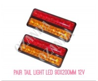 2 x LED Tail Light Brake Indicator Tail 12V 90x200mm Submersible Trailer Parts