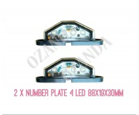 2 x Led Number Plate Lamp Black Light 10-30V 4 Leds Truck Ute Trailer Caravan