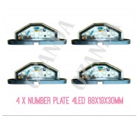 4 x Led Number Plate Lamp Black Light 10-30V 4 Leds Truck Ute Trailer Caravan