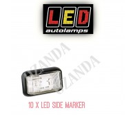 10 x LED Trailer Side Marker Light Lamp White Clearance 12V 24V Submersible 58WM