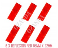 6 X RED REFLECTOR ADHESIVE 85MM X 22MM TRAILER TRUCK CARAVAN SIDE