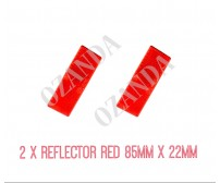 2 X RED REFLECTOR ADHESIVE 85MM X 22MM TRAILER TRUCK CARAVAN SIDE