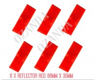 6 X RED REFLECTOR ADHESIVE 86MM X 30MM TRAILER TRUCK CARAVAN SIDE