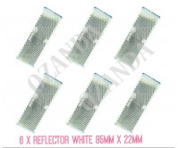 6 X WHITE REFLECTOR ADHESIVE 85MM X 22MM TRAILER TRUCK CARAVAN SIDE