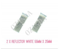 2 X WHITE REFLECTOR ADHESIVE 55MM X 25MM TRAILER TRUCK CARAVAN SIDE