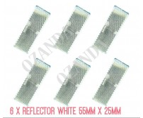 6 X WHITE REFLECTOR ADHESIVE 55MM X 25MM TRAILER TRUCK CARAVAN SIDE
