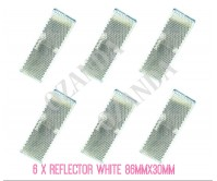 6 X WHITE REFLECTOR ADHESIVE 86MM X 30MM TRAILER TRUCK CARAVAN SIDE