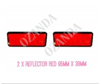 2 X REFLECTOR ADHESIVE RED 95MM X 38MM TRAILER TRUCK CARAVAN SIDE