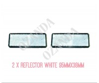 2 X REFLECTOR ADHESIVE WHITE 95MM X 38MM TRAILER TRUCK CARAVAN SIDE