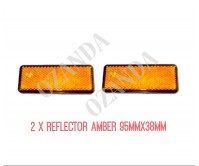 2 X REFLECTOR ADHESIVE AMBER 95MM X 38MM TRAILER TRUCK CARAVAN SIDE
