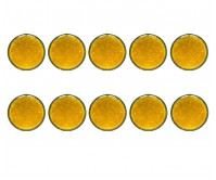10pc Round Amber Reflector Marker Truck Car Trailer Caravan Self Adhesiv