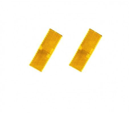 2 X AMBER REFLECTOR ADHESIVE 55MM X 25MM TRAILER TRUCK CARAVAN SIDE