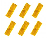 6 X AMBER REFLECTOR ADHESIVE 55MM X 25MM TRAILER TRUCK CARAVAN SIDE