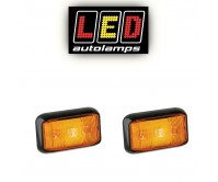 2 x LED AUTOLAMPS 12 / 24V, AMBER LED SIDE MARKER TRAILER TRUCK LIGHT 58AM