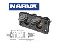 Narva Heavy-Duty Twin Accessory Sockets 81027BL