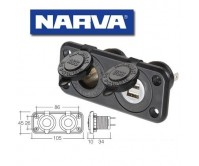Narva Heavy-Duty Twin Accessory/Dual USB Sockets 81144BL