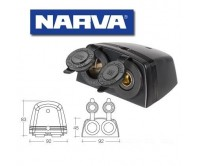 Narva Heavy Duty Twin Surface Mount Accessory/Merit Sockets 81164BL