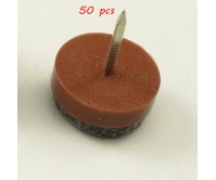 50pcs 24mm Anti Slip Furniture Sofa Desk Table Leg Glides Felt Plastic Floor Protector Skid Pads Knock Nail Brown
