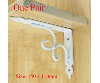 2pcs White 150*110mm Heavy Duty Retro Table Book Shelf Triangular Bracket Wall Bench Rack Mounting Support Steel