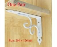 2pcs White 200*126mm Heavy Duty Retro Table Book Shelf Triangular Bracket Wall Bench Rack Mounting Support Steel
