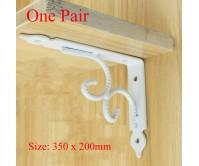 2pcs White 350*200mm Heavy Duty Retro Table Book Shelf Triangular Bracket Wall Bench Rack Mounting Support Steel