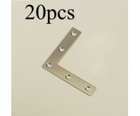 20PCS/Pack 90 Degree Right Angle Stainless Steel Flat L Shape Corner Brace Bracket Wall Shelf Support