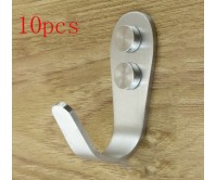 10PCS 11X36X68mm Stainless Steel Kitchen Bathroom Hat Coat Tie KeyTowel Wall Door Support Hanger Hook